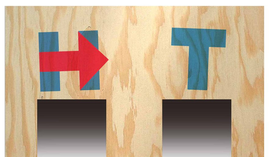 Illustration on voters choices in the upcoming presidential contest by Alexander /The Washington Times