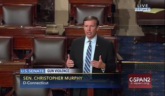 This frame grab provided by C-SPAN shows Sen. Chris Murphy, D-Conn. speaking on the floor of the Senate on Capitol Hill in Washington, Wednesday, June 15, 2016, where he launched a filibuster demanding a vote on gun control measures. The move comes three days after people were killed in a mass shooting in Orlando. (Senate Television via AP)