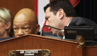 House Committee on Oversight and Government Reform Committee Chairman Rep. Jason Chaffetz, R-Utah, right, talks to the committee's ranking member Rep. Elijah Cummings, D-Md., on Capitol Hill in Washington, Wednesday, June 15, 2016, during the committee's hearing to consider a censure or IRS Commissioner John Koskinen.  (AP Photo/Lauren Victoria Burke)