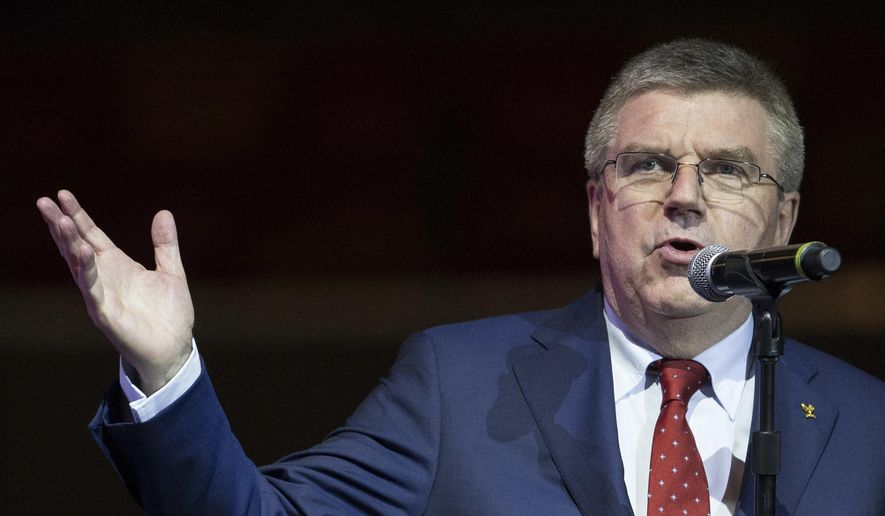 IOC President Thomas Bach speaks during a ceremony at the Olympic Park in Rio de Janeiro, Brazil, Tuesday, June 14, 2016.  Rio will host the Olympic games starting on Aug. 5, amid the worst recession to hit Brazil in decades, an outbreak of the Zika virus and the ongoing political crisis that saw President Dilma Rousseff impeached and suspended from office. (AP Photo/Felipe Dana)