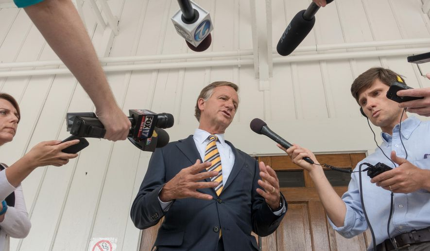 Gov. Bill Haslam speaks to reporters in Nashville, Tenn., on Wednesday, June 15, 2016, about a meeting that he had helped organize the day before with presumptive Republican presidential nominee Donald Trump in New York. Haslam said he still wasn't ready to endorse Trump. (AP Photo/Erik Schelzig)