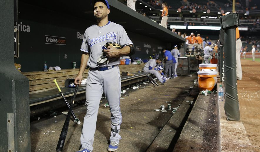 FILE - In this June 6, 2016, file phot, Kansas City Royals' Omar Infante walks out of the dugout after their 4-1 loss to the Baltimore Orioles ina baseball game in Baltimore. The Royals designated  Infante for assignment on Wednesday, June 15, 2016, likely ending his rather unproductive tenure in Kansas City. (AP Photo/Patrick Semansky, File)