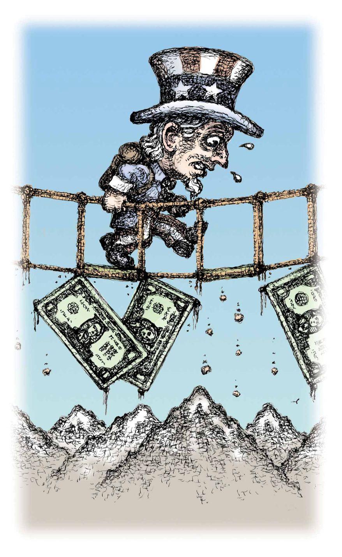 Illustration on the U.S. economy by Kevin Kreneck/Tribune Content Agency