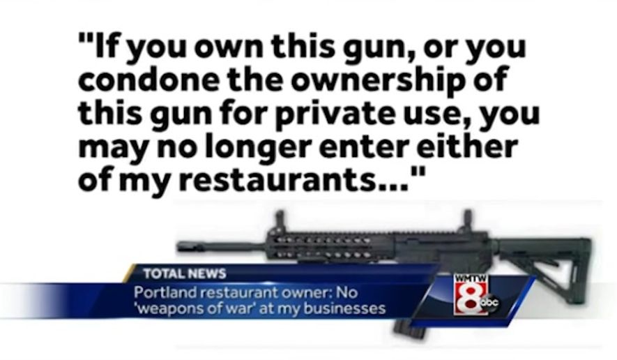 Anne Verrill, a Portland, Maine, restaurant owner, is facing calls for a boycott after she announced she was banning owners of semi-automatic rifles, as well as people who support the private ownership of such rifles. (WMTW)