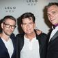 """From left, """"Lelo Hex"""" co-founder Miroslav Slavic, U.S. actor Charlie Sheen and fellow co-founder Filip Sedic after a press conference to celebrate the launch of the condom brand """"Lelo Hex"""" in London, Thursday June 16, 2016. (Photo by Vianney Le Caer/Invision/AP)"""