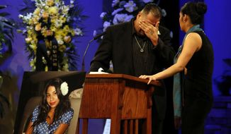 In this Friday, Dec. 4, 2015, file photo, Reynaldo Gonzalez breaks down while remembering his daughter Nohemi Gonzalez, who was killed in the Paris attacks in November, at her funeral at the Calvary Chapel in Downey, Calif. Reynaldo Gonzalez is suing Twitter, Facebook and Google for allegedly supporting the attackers. The suit claims the companies gave material support to extremists by letting the Islamic State group recruit and spread propaganda via their online services. The companies said the lawsuit is without merit. (Genaro Molina/Los Angeles Times via AP, Pool, File)