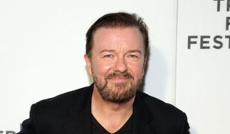 "In this April 22, 2016 file photo, Ricky Gervais attends Tribeca Talks After the Movie: ""Special Correspondents"" during the 2016 Tribeca Film Festival in New York. (Photo by Andy Kropa/Invision/AP, File)"