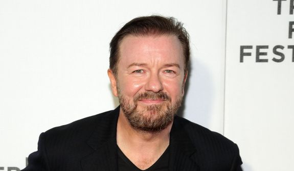 """In this April 22, 2016 file photo, Ricky Gervais attends Tribeca Talks After the Movie: """"Special Correspondents"""" during the 2016 Tribeca Film Festival in New York. (Photo by Andy Kropa/Invision/AP, File)"""