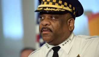 Chicago Police Superintendent Eddie Johnson speaks about security measures at this weekend's gay pride festival and next weekend's gay pride parade during a news conference Thursday, June 16, 2016 in Chicago. (Brian Jackson/Sun Times via AP)/Chicago Sun-Times via AP) ** FILE **