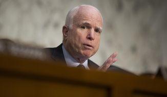 In this April 28, 2016 file photo, Sen. John McCain, R-Ariz. speaks on Capitol Hill in Washington. (AP Photo/Evan Vucci, File)