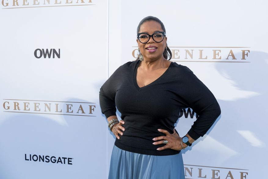 "Oprah Winfrey arrives at the season one premiere of ""Greenleaf"" at The Lot in West Hollywood, Calif., in this Wednesday, June 15, 2016, file photo. (Photo by Willy Sanjuan/Invision/AP, File)"