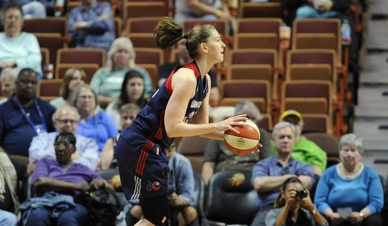 Washington Mystics' Emma Meesseman shoots during the second half of a WNBA basketball game, Tuesday, June 14, 2016, in Uncasville, Conn. (AP Photo/Jessica Hill) ** FILE **