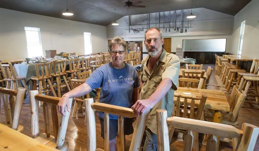 ADVANCED FOR RELEASE MONDAY, JUNE 20, 2016 Cynthia Andrews, left, and her brother Chris Andrews are co-owners with their nephew Chad Andrews, not pictured, of Loggers Brewing Company, 1215 S. River in James Township, June 8, 2016. They purchased the building, which has been a church and a boxing club, and are in the process of renovating it and turning it into a brewery. They are hoping to open later this year. The Loggers name is an homage to the logging history of Saginaw. (Jeff Schrier/The Saginaw News via AP)