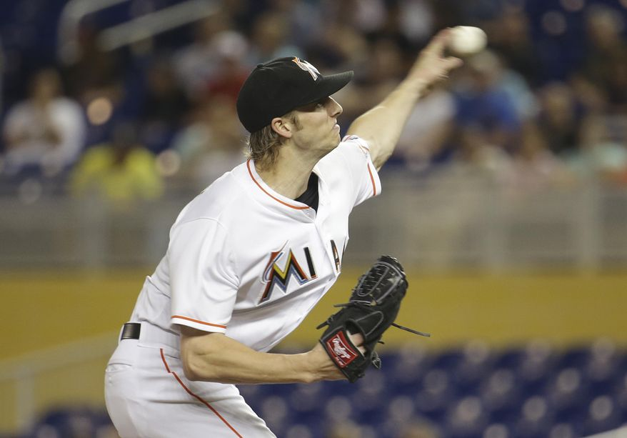 Miami Marlins starting pitcher Adam Conley delivers during the first inning of a baseball game against the Colorado Rockies, Friday, June 17, 2016, in Miami. (AP Photo/Lynne Sladky)