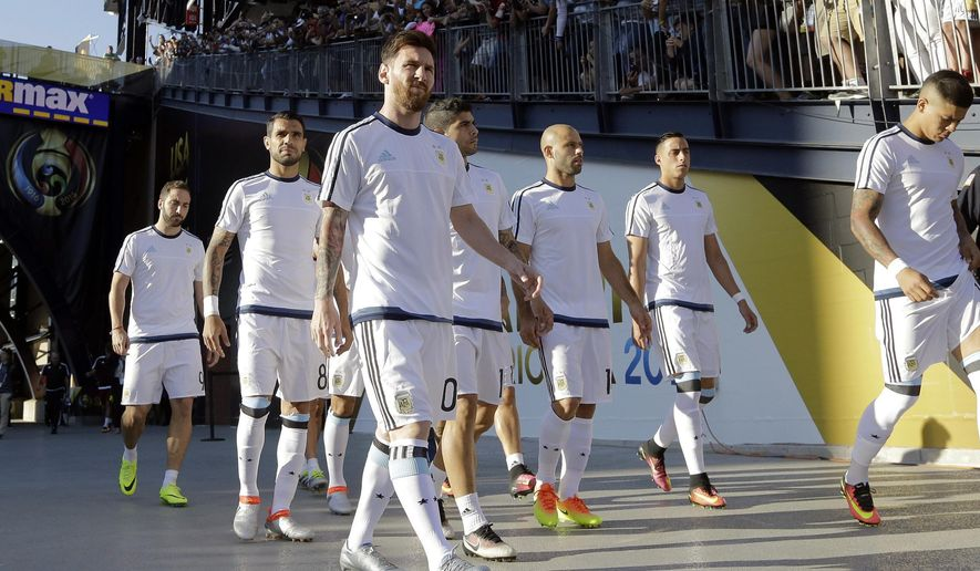 Argentina's Lionel Messi leads his teammates to the pitch for a Copa America Centenario quarterfinal soccer match against Venezuela on Saturday, June 18, 2016, in Foxborough, Mass. (AP Photo/Elise Amendola)