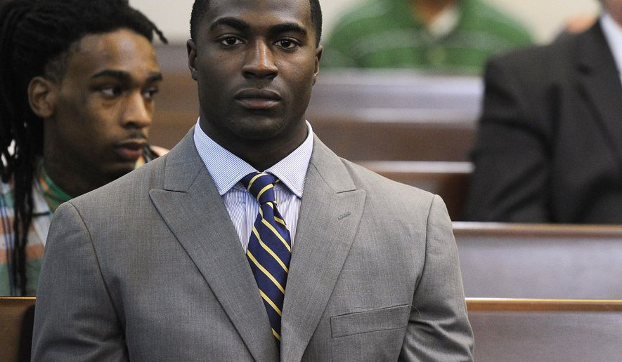 FILE- In this Oct. 16, 2013 file photo, former Vanderbilt football player Cory Batey attends a discussion hearing at the Birch Building in Nashville, Tenn.  The cases are tragically similar: Student-athletes at two elite universities accused of sex crimes against unconscious women.  Some have questioned why former Stanford swimmer Brock Turner, who is white, received a far less severe sentence for a January 2015 assault than the one faced by Batey, who is black. (AP Photo /The Tennessean via AP) NO SALES; MANDATORY CREDIT