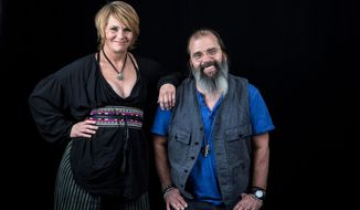 "Shawn Colvin and Steve Earle pose for a portrait on Thursday, June 9, 2016, in New York. Colvin and Earle have done concerts together, and now have recorded their first duets album, ""Colvin & Earle."" (Photo by Amy Sussman/Invision/AP)"