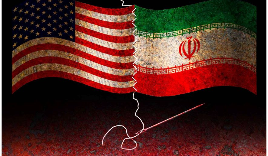 Illustration on the illicit de facto alliance with Iran by Alexander Hunter/The Washington Times