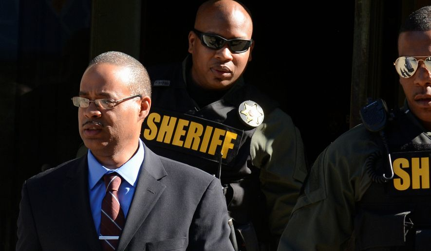"""Baltimore police officer Caesar Goodson, 46, is accused of the most serious crimes of the six officers charged in Freddie Gray's death: Second-degree """"depraved heart"""" murder, manslaughter, assault, misconduct in office and reckless endangerment. (Associated Press)"""
