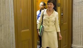 Sen. Susan Collins, R-Maine, arrives for a vote on Capitol Hill in Washington on June 20, 2016. A divided Senate hurtled Monday toward an election-year stalemate over curbing guns, eight days after Orlando's mass shooting horror intensified pressure on lawmakers to act but left them gridlocked anyway  even over restricting firearms for terrorists. (Associated Press) **FILE**