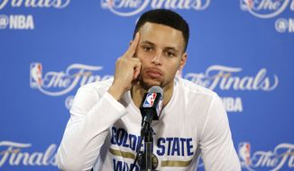 Two-time MVP Stephen Curry shot just 40.3 percent from the field in the Finals. (AP Photo/Eric Risberg)