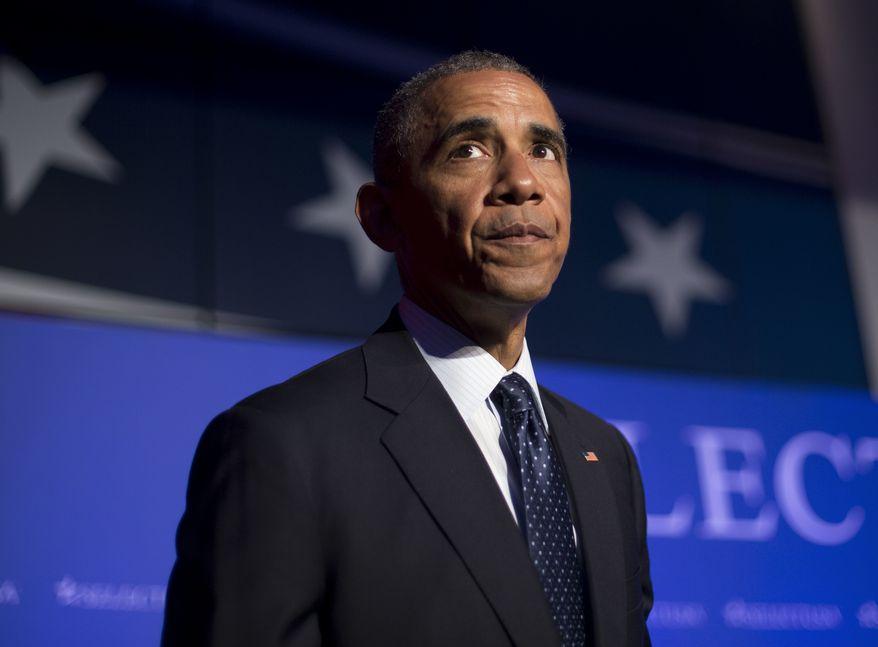 President Barack Obama walks off stage after speaking at the SelectUSA Investment Summit in Washington, Monday, June 20, 2016. (AP Photo/Pablo Martinez Monsivais)