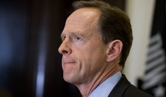 """""""Why aren't we working on something that could actually get done?"""" pleaded Sen. Patrick Toomey, a Pennsylvania Republican who tried to broker a compromise after the 2012 Sandy Hook shooting, but saw those efforts doomed by the same gridlock that still prevails four years, and dozens of mass-shootings deaths, later. (Associated Press)"""
