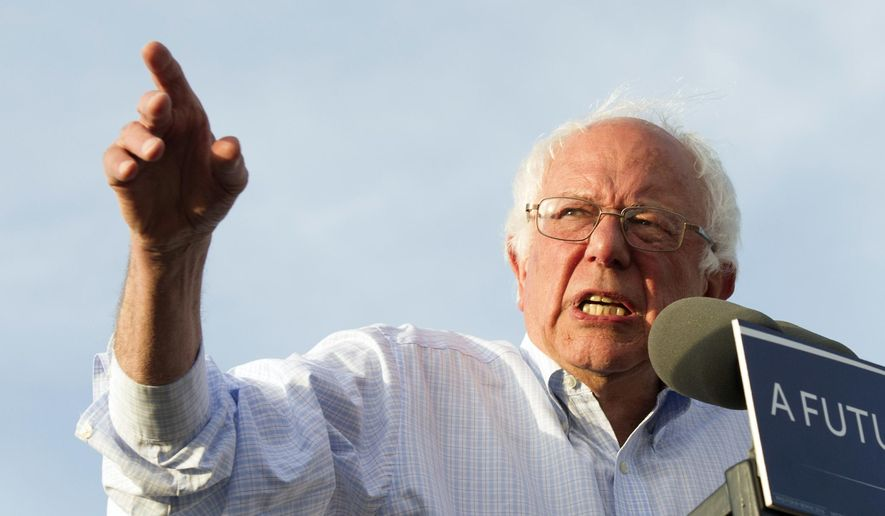 Democratic presidential candidate Sen. Bernie Sanders, I-Vt., speaks at a rally in Washington, in this June 9, 2016, file photo. (AP Photo/Cliff Owen)