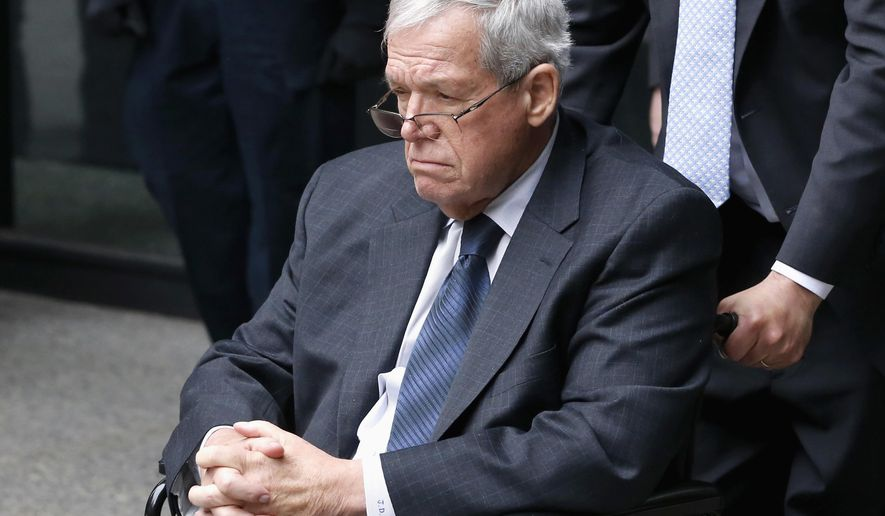 FILE - In this April 27, 2016, file photo, former U.S. House Speaker Dennis Hastert departs the federal courthouse in Chicago. Hastert's attorney says that he will report to a federal prison in southeastern Minnesota this week to begin serving a 15-month sentence in his hush-money case. Washington, D.C.,-based attorney Thomas Green confirmed Monday, June 20, 2016, in an email that the Illinois Republican will report to the Rochester Federal Medical Center. (AP Photo/Charles Rex Arbogast, File)