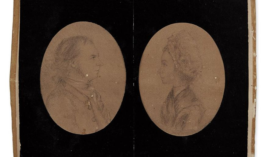 This handout photo provided by Swann Auction Galleries shows two portraits drawn in Albany during the Revolutionary War by a British officer-turned-spy linked to Benedict Arnold that are being auctioned in New York City. Swann on Tuesday, June 21, 2016, is selling John Andre's circa-1776 portraits of Albany Mayor Abraham Cuyler and his wife. The pencil-on-paper sketches are mounted together and being sold as one unit. The estimated sale price is $50,000 to $75,000. (Courtesy of Swann Auction Galleries via AP)