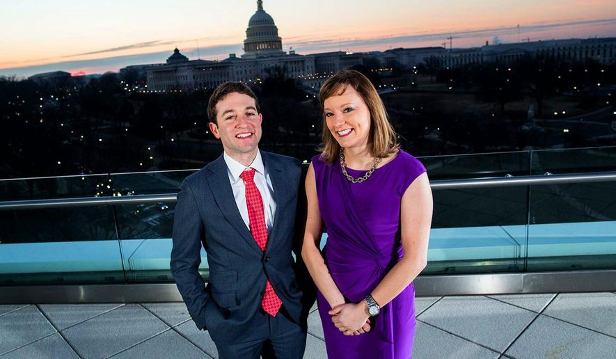 This undated image released by Politico shows Politico reporters Jake Sherman, left, and Anna Palmer in Washington. Sherman and Palmer will replace Mike Allen as authors of Playbook, Politico's briefing on what's driving the day in Washinton. (M. Scott Mahaskey/Politico via AP)