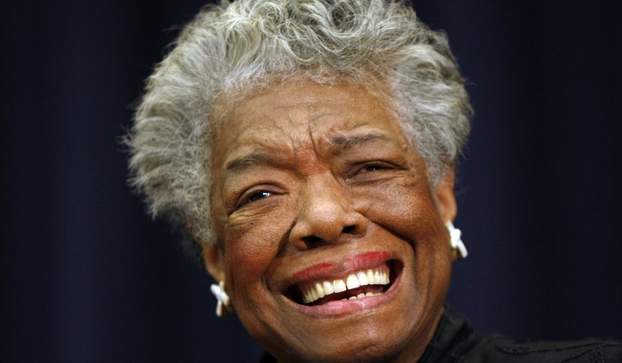 FILE - In this Nov. 21, 2008, file photo, poet Maya Angelou smiles at an event in Washington. The Jersey City school board voted last Thursday, June 16, 2016, to name a $54.6 million school building for the celebrated writer and civil rights activist. Angelou died in 2014 at age 86. (AP Photo/Gerald Herbert, File)