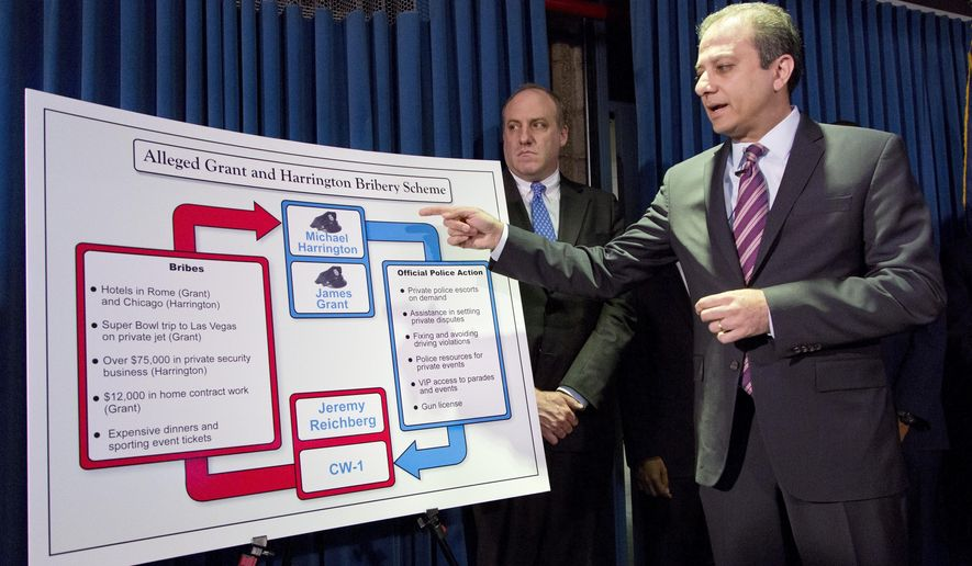 U. S. Attorney Preet Bharara points to a chart as he announces the arrest of four people in connection with New York City's ongoing corruption probe, Monday, June 20, 2016, in New York. Two high-ranking New York Police Department officials and a police sergeant who oversaw gun license applications were among the latest arrests in a case that has cast a cloud over the nation's largest municipal police force. (AP Photo/Mark Lennihan)