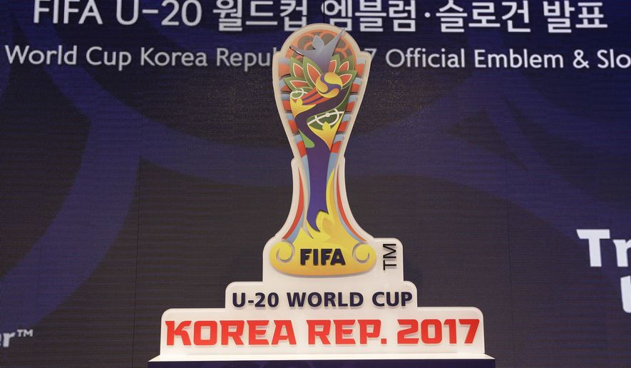 The official emblem of the FIFA U-20 World Cup Korea Republic 2017 is seen during its unveiling ceremony in Seoul, South Korea, Thursday, June 16, 2016. The U-20 World Cup will be played in Cheonan, Daejeon, Incheon, Jeju, Jeonju and Suwon from May 20 to June 11, 2017. (AP Photo/Ahn Young-joon)