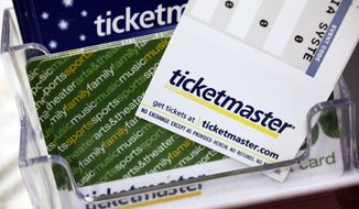 FILE - In this May 11, 2009 file photo, Ticketmaster tickets and gift cards are shown at a box office in San Jose, Calif. Millions of people are eligible for free tickets through Ticketmaster as a result of a lawsuit over ticket fees and other charges. (AP Photo/Paul Sakuma, File)