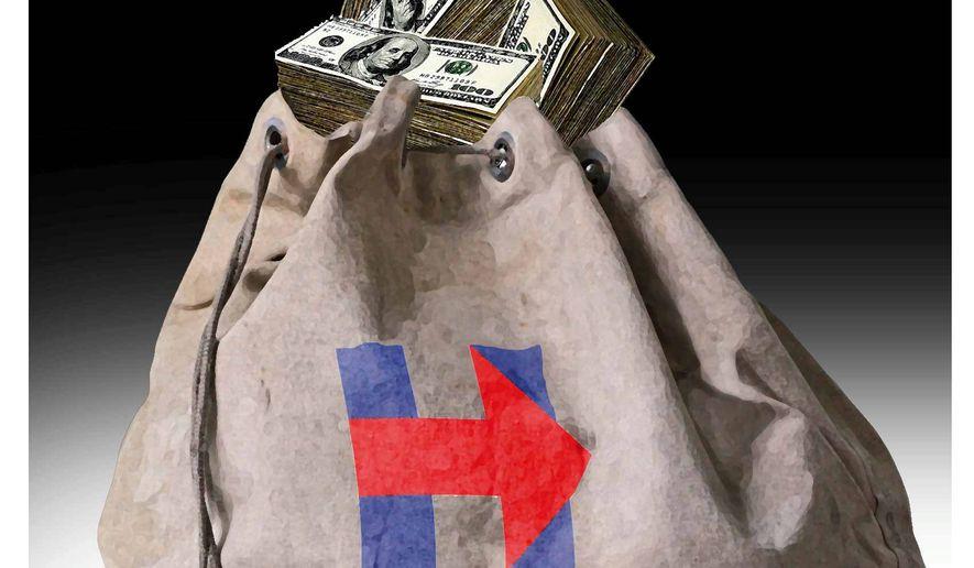 Illustration on Clinton money by Alexander Hunter/The Washington Times