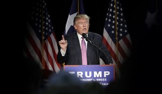 FILE - In this June 17, 2016 file photo, Republican presidential candidate Donald Trump speaks in The Woodlands, Texas. The Republican National Convention is a month away, and Donald Trump's campaign is in freefall: little staff, less money and trailing in the polls. (AP Photo/David J. Phillip, File)