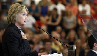 Democratic presidential candidate Hillary Clinton speaks about the economy, Tuesday, June 21, 2016, at Fort Hayes Vocational School in Columbus, Ohio. (AP Photo/Jay LaPrete)