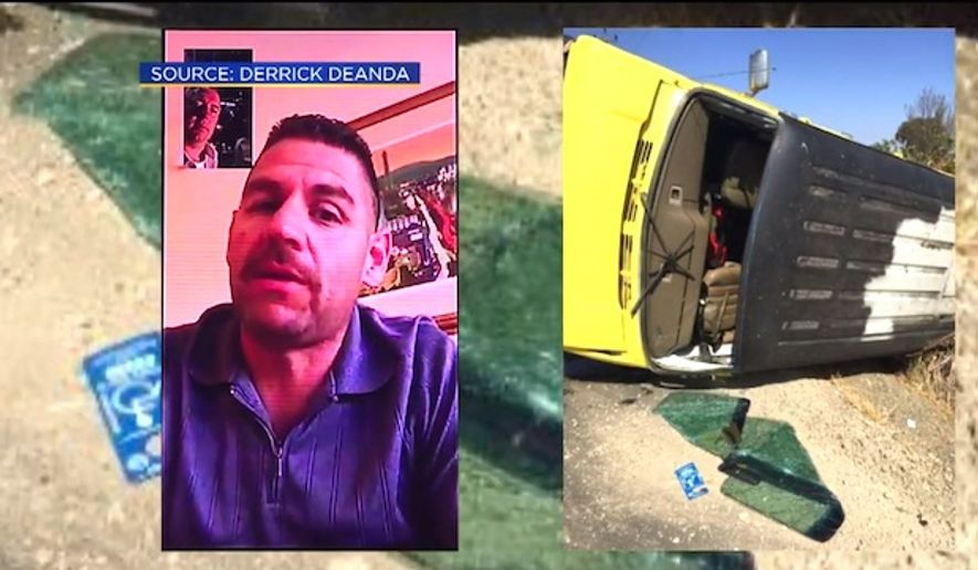 Derrick Deanda was billed by first-responders in Elk Grove, California, after he helped rescue a family from its overturned vehicle. (CBS-13 Sacramento screenshot)