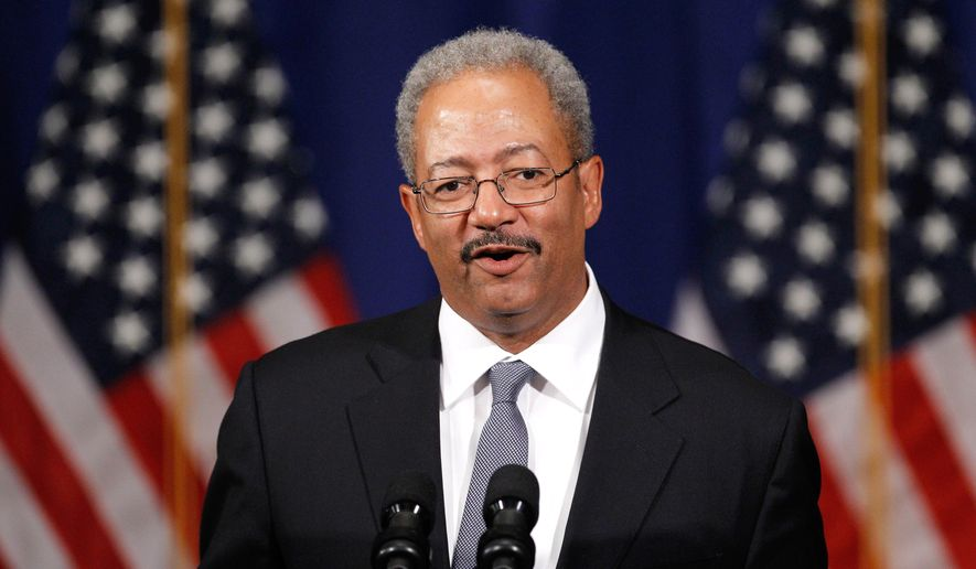 FILE - In this June 30, 2011, file photo, U.S. Rep. Chaka Fattah, D-Pa., speaks during a Democratic National Committee event in Philadelphia. A federal jury in Philadelphia convicted Fattah on Tuesday, June 21, 2016, of racketeering, fraud, money laundering and other counts in a case that largely centered on efforts to repay an illegal $1 million campaign loan. (AP Photo/Matt Rourke, File)