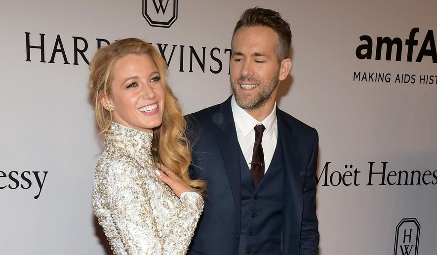"In this Feb. 10, 2016, file photo, Blake Lively, left, and Ryan Reynolds attend amfAR's New York Gala honoring Harvey Weinstein at Cipriani Wall Street in New York. Lively told NBC's ""Today"" show on Monday, June 20, 2016, that she and Reynolds hope to have a big family. (Photo by Charles Sykes/Invision/AP, File)"