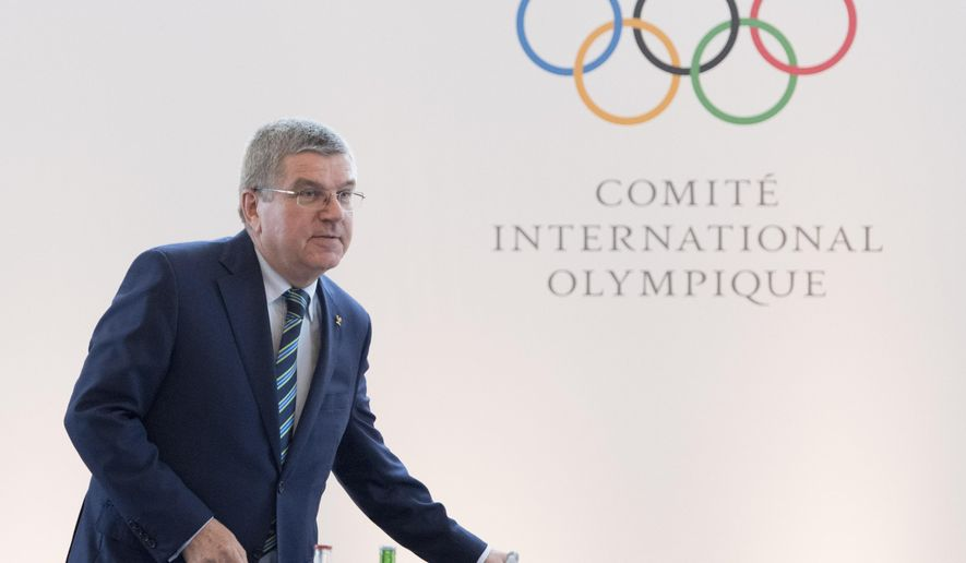 International Olympic Committee, IOC, President Thomas Bach of Germany arrives for the opening of the Olympic summit in Lausanne, Switzerland, Tuesday, June 21, 2016, ahead of the Olympic Games in Rio de Janeiro, Brazil. (Laurent Gillieron/Keystone via AP)