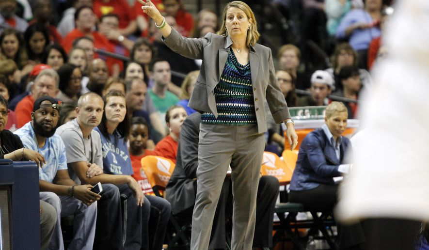 FILE - In this Oct. 9, 2015 file photo, Minnesota Lynx head coach Cheryl Reeve directs her team in the first half of Game 3 of the WNBA Finals basketball series against the Indiana Fever  in Indianapolis. When the Lynx visit the  Los Angeles Sparks on Tuesday, June 21, it will be just another regular-season game for two teams with championship aspirations. The defending champion Lynx have won their opening 12 games and the Sparks are 11-0, marking the first time that two unbeaten teams from the WNBA, NBA, NFL, MLB, or NHL have met with each team having at least 10 wins with no losses and no ties.  (AP Photo/AJ Mast)