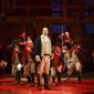 "Ensemble cast in a scene from the Broadway musical ""Hamilton"""