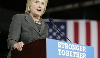 Democratic presidential candidate Hillary Clinton speaks during a rally in Raleigh, N.C., on June 22, 2016. (Associated Press) **FILE**