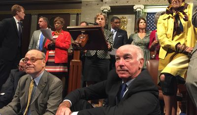 This photo provided by Rep. Chellie Pingree, D-Maine shows Democrat members of Congress, including, front row, from left, Rep. Steve Cohen, D-Tenn., Rep. Joe Courtney, D-Conn., and Rep. Rosa DeLauro, D-Conn., participate in sit-down protest seeking a a vote on gun control measures, Wednesday, June 22, 2016, on the floor of the House on Capitol Hill in Washington. (Rep. Chellie Pingree via AP)