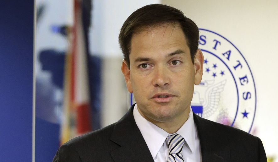 In this June 3, 2016, file photo, Sen. Marco Rubio, R-Fla. speaks during news conference in Doral, Fla. (AP Photo/Alan Diaz, File)