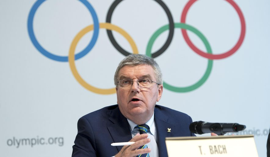 International Olympic Committee, IOC, President Thomas Bach, from Germany, speaks during a press conference after the Olympic Summit IOC in Lausanne, Switzerland, Tuesday. Olympic leaders met to consider further measures to crack down on doping ahead of the Rio de Janeiro Olympics in the wake of the ban on Russian track and field athletes. (Laurent Gillieron/Keystone via AP)