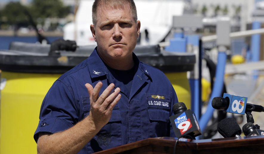 U.S. Coast Guard Capt., Gregory Case gestures during a news conference regarding the missing family, Wednesday, June 22, 2016, in St. Petersburg, Fla. According to the Coast Guard Sector in St. Petersburg, a concerned family member stated that the missing family was last heard from Sunday morning when they left Sarasota, Fla., to sail to Fort Myers to repair the boat. AP Photo/Chris O'Meara)