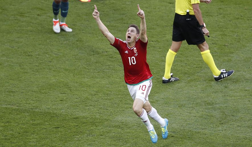Hungary's Zoltan Gera celebrates scoring his side's first goal during the Euro 2016 Group F soccer match between Hungary and Portugal at the Grand Stade in Decines-Charpieu, near Lyon, France, Wednesday, June 22, 2016. (AP Photo/Michael Sohn)